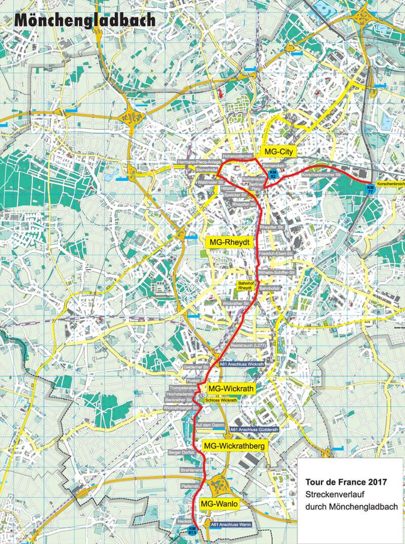 Strecke Tour de France Mönchengladbach